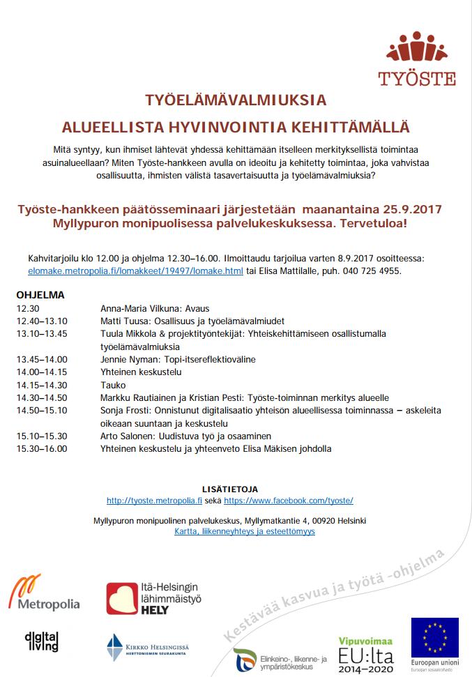 Työste-hanke päätösseminaarin ohjelma